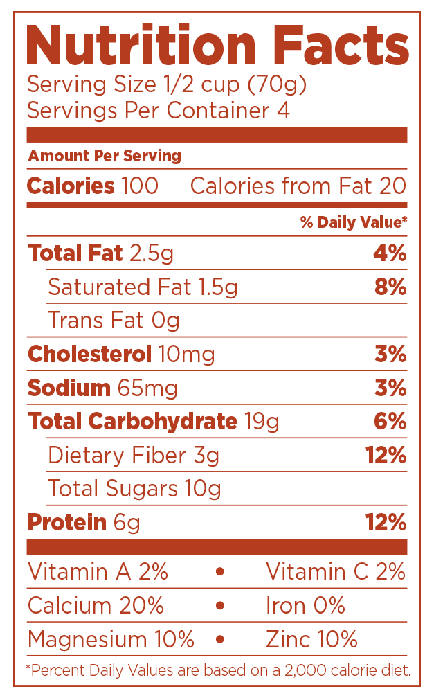 Nighfood - Product - Nutrition Facts - Bed and Breakfast