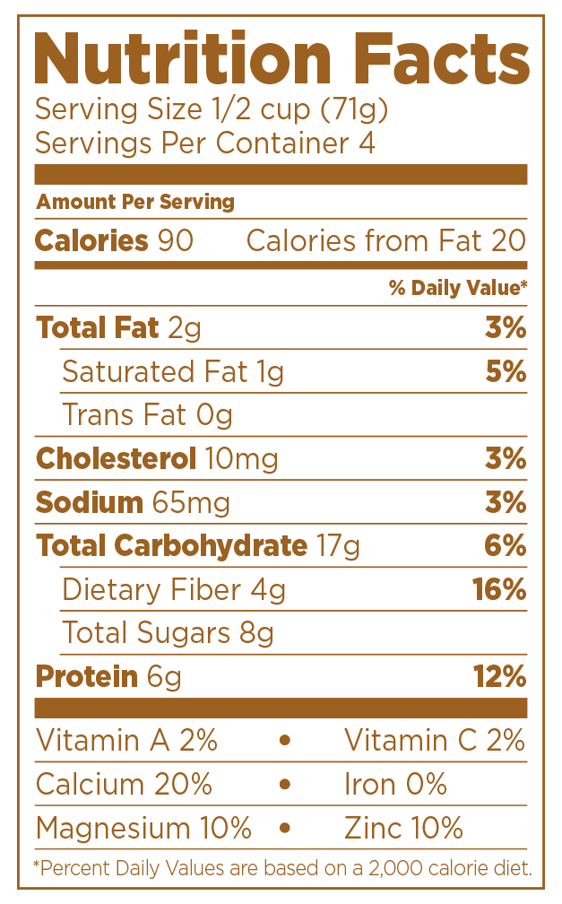 Nighfood - Product - Nutrition Facts - Milk and Cookie Dough
