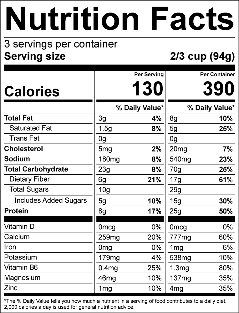 Nighfood - Product - Nutrition Facts - Cookies n' Dreams